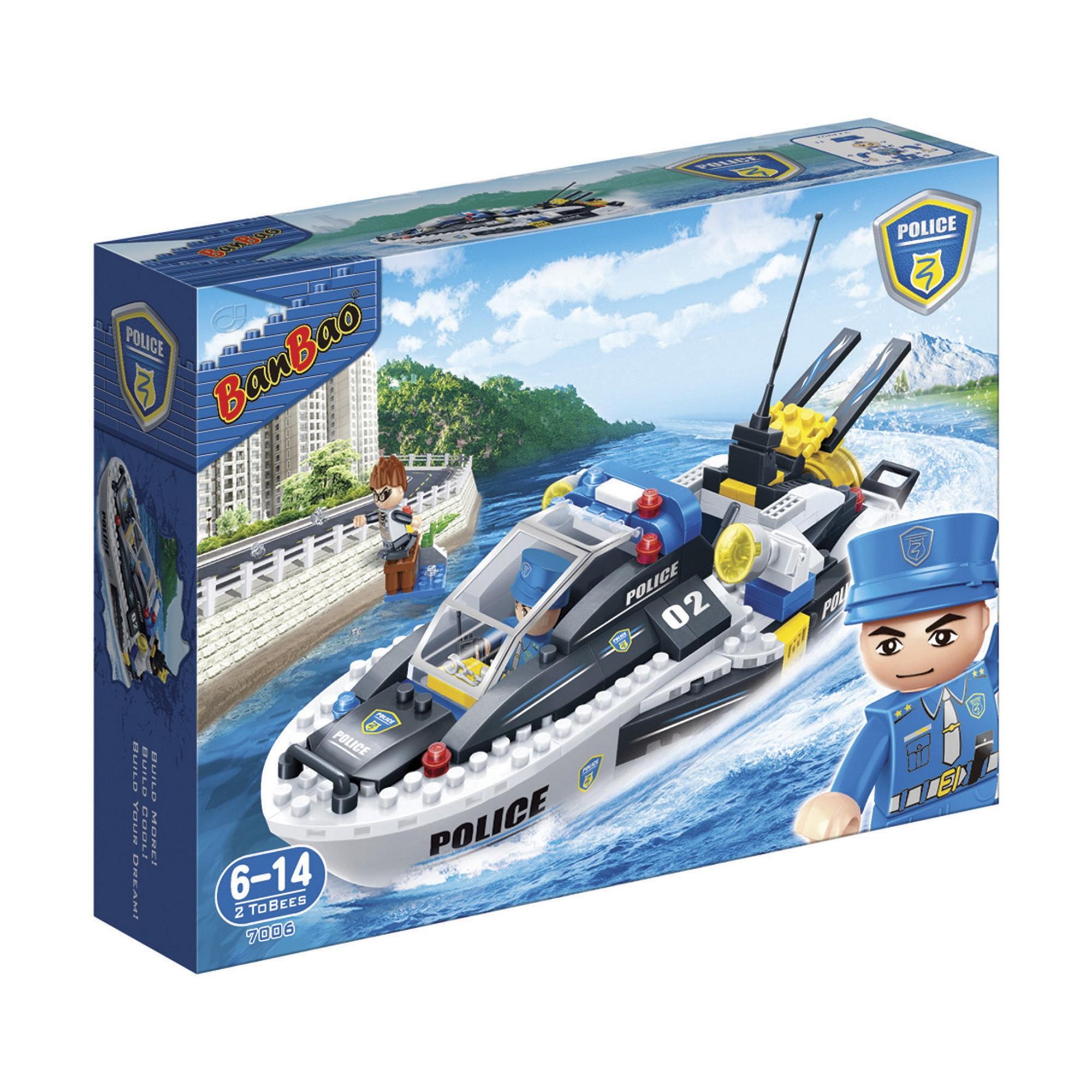 Kinder Geschenk Konstruktion spielzeug Bausteine Baukästen Polizei Boot 7006