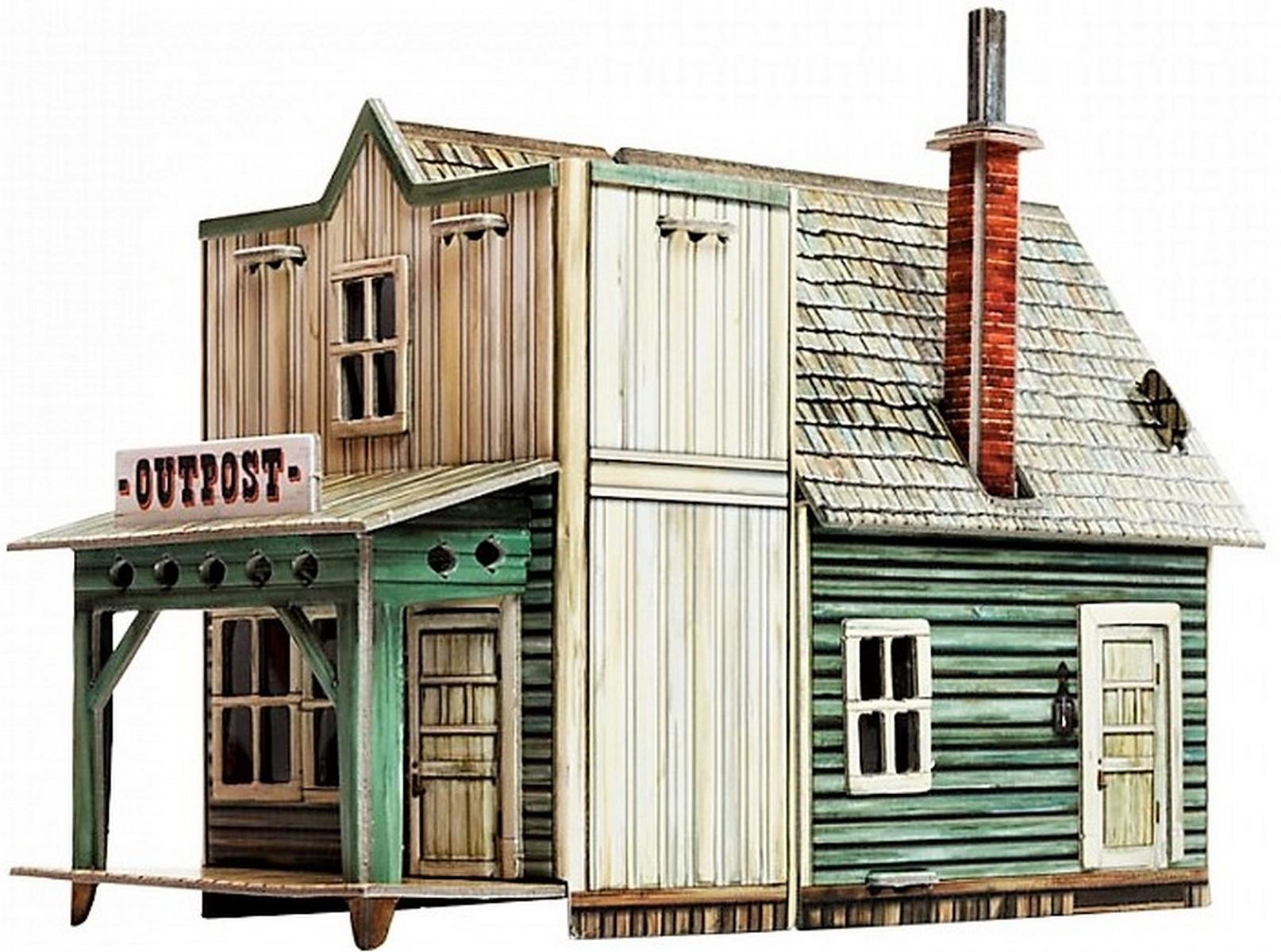 3d puzzle Spielzeug Wilder Westen Haus KARTONMODELLBAU Papiermodell Barbershop
